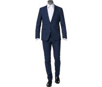 Herren Anzug, Schurwolle, dunkelblau