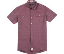 Herren Hemd, Modern Fit, Leinen-Baumwolle, bordeaux meliert rot