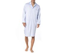 Herren Nachthemd, Baumwolle, blau gestreift