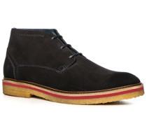 Herren Schuhe Schnürstiefeletten, Kalbvelours, nachtblau