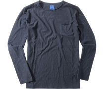 Herren T-Shirt Modern Fit Baumwolle marineblau
