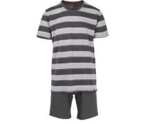 Herren Schlafanzug Pyjama, Baumwolle, grau gestreift