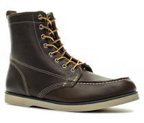 Herren Schuhe Schnürstiefeletten Leder dunkel