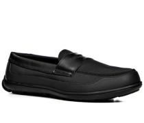 Herren Schuhe Loafer, Microfaser wasserabweisend, schwarz