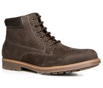 Herren Schuhe Schnürstiefeletten Nubukleder kaffeebraun