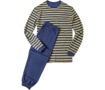 Herren Schlafanzug Pyjama Baumwolle gelb-navy gestreift blau,gelb