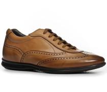 Herren Schuhe Sneaker, Kalbleder glatt, cuoio braun