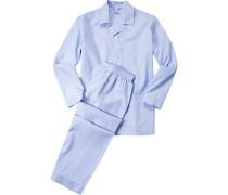 Herren Schlafanzug Pyjama, Baumwolle, hellblau meliert