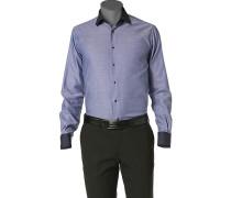 Herren Hemd Slim Fit Strukturgewebe blau gemustert