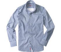 Hemd Slim Cut Popeline jeans-weiß gemustert