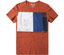 Herren T-Shirt Tailored Fit Baumwolle orange gemustert