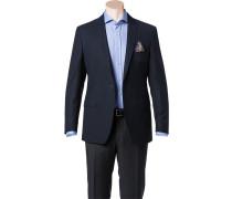 Herren Sakko Shape Fit Schurwolle Super100 dunkelblau gemustert