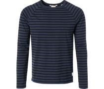 Herren T-Shirt Longsleeve Baumwolle schwarz-blau gestreift
