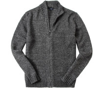 Herren Zip-Cardigan Wolle-Alpaka grau meliert