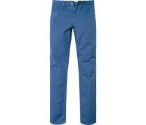 Herren Jeans, Comfort Fit, Baumwolle-Leinen, capriblau