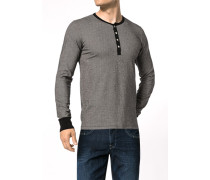 Herren T-Shirt Longsleeve Baumwolle schwarz gestreift