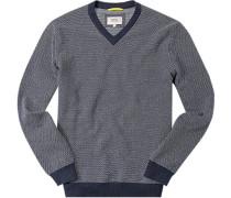 Herren Pullover Baumwolle dunkelblau-weiß gemustert blau,blau