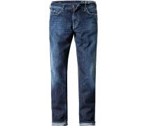Herren Jeans Slim Fit Baumwoll-Stretch 9 oz jeansblau