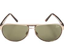 Herren Brillen Sonnenbrille Metall-Kunststoff braun-graugrün