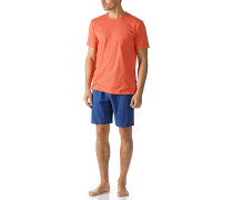 Herren Schlafanzug Pyjama Baumwoll-Mix mandarin-königsblau orange