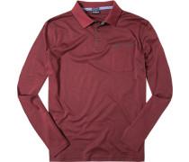 Herren Polo-Shirt Baumwoll-Piqué bordeaux meliert