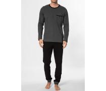Herren Schlafanzug Pyjama Baumwolle schwarz-grau meliert