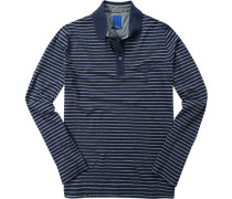 Herren Polo-Shirt Regular Fit Baumwoll-Piqué blau-grau gestreift