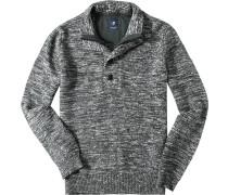 Herren Pullover Troyer Baumwolle grau-weiß meliert