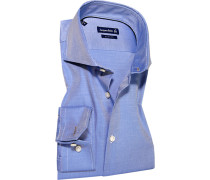 Herren Hemd Slim Fit Strukturgewebe Extra langer Arm azurblau-weiß gestreift