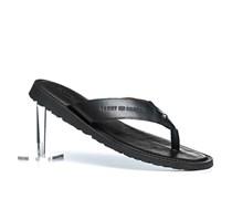 Herren Schuhe Zehensandale Leder schwarz