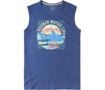 Herren T-Shirt Tank Top Baumwolle marine gemustert