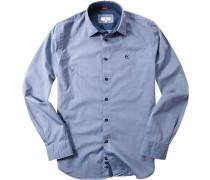 Herren Hemd Regular Fit Popeline jeansblau gepunktet