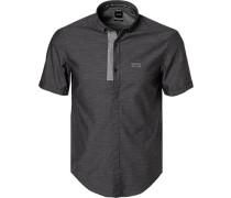 Kurzarmhemd Slim Fit Baumwolle -grau gemustert