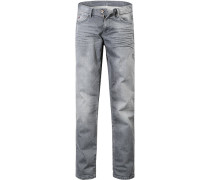 Herren Jeans Regular Fit Baumwoll-Stretch grau