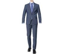 Herren Anzug, Modern Fit, Schurwolle, blau meliert