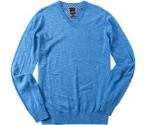 Herren Pullover Baumwolle royal meliert blau