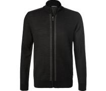Herren Zip-Cardigan Wolle schwarz