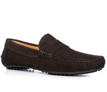Herren Schuhe Loafers Veloursleder dunkelbraun braun,beige