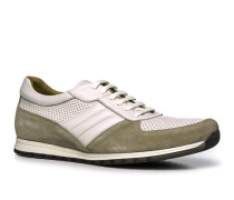 Herren Schuhe Sneaker, Glatt-Veloursleder, weiß-beige
