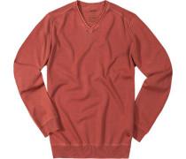 Herren  V-Pullover rost rot