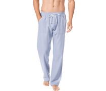 Herren Pyjamahose, Baumwoll-Flanell, blau gemustert