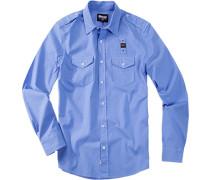 Herren Hemd Baumwolle Blau blau