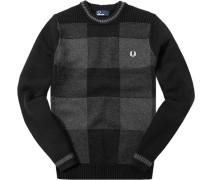 Herren Pullover Wolle-Baumwolle schwarz-hellgrau meliert