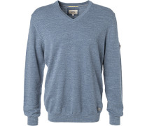 Herren Pullover Baumwolle blau meliert