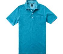 Herren Polo-Shirt Baumwoll-Jersey Türkis meliert