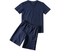 Herren Schlafanzug Pyjama Baumwolle marine gemustert blau