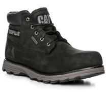 Herren Schuhe Schnürstiefeletten, Leder, schwarz