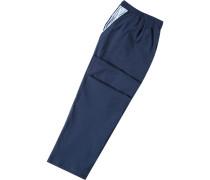 Herren Pyjamahose Baumwolle navy blau