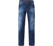 Herren Jeans Shaped Fit Baumwoll-Stretch jeansblau