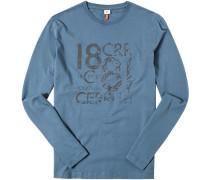 Herren T-Shirt Longsleeve Baumwolle graublau
